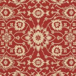 Safavieh Courtyard Oriental Red/ Cream Indoor/ Outdoor Rug (6'7 x 9'6) - Thumbnail 2