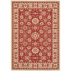Safavieh Courtyard Oriental Red/ Cream Indoor/ Outdoor Rug (6'7 x 9'6) - Thumbnail 0