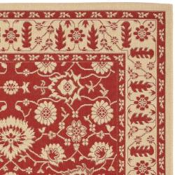 Safavieh Courtyard Oriental Red/ Cream Indoor/ Outdoor Rug (8' x 11') - Thumbnail 1