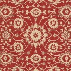 Safavieh Courtyard Oriental Red/ Cream Indoor/ Outdoor Rug (8' x 11') - Thumbnail 2