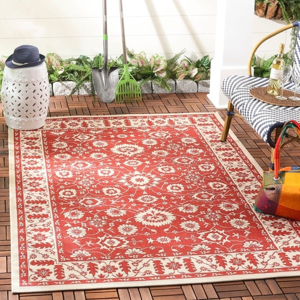 Safavieh Courtyard Oriental Red/ Cream Indoor/ Outdoor Rug - 8' X 11'