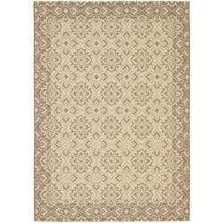 Safavieh Courtyard Elegance Light Brown/ Cream Indoor/ Outdoor Rug (5'3 x 7'7)