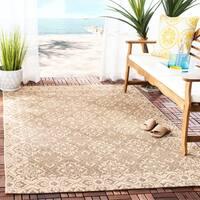 """Safavieh Courtyard Elegance Light Brown/ Cream Indoor/ Outdoor Rug - 5'3"""" x 7'7"""""""