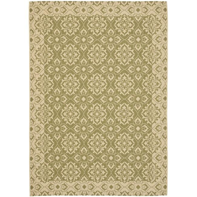 Safavieh Courtyard Elegance Green/ Cream Indoor/ Outdoor Rug - 8' x 11'2