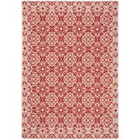 "Safavieh Courtyard Elegance Red/ Cream Indoor/ Outdoor Rug - 6'7"" x 9'6"""