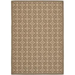 Safavieh Courtyard Poolside Brown/ Cream Indoor/ Outdoor Rug (5'3 x 7'7)