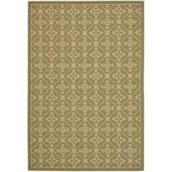 Safavieh Courtyard Poolside Green/ Cream Indoor/ Outdoor Rug (5'3 x 7'7)
