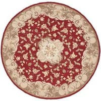 Safavieh Hand-hooked Easy Care Aubusson Rust/ Sage Rug - 6' x 6' Round