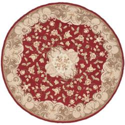 Safavieh Hand-hooked Easy Care Aubusson Rust/ Sage Rug (6' Round)