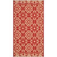 """Safavieh Courtyard Elegance Red/ Cream Indoor/ Outdoor Rug - 2'-7"""" x 5'"""