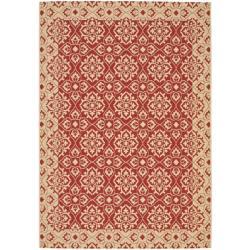 Safavieh Courtyard Elegance Red/ Cream Indoor/ Outdoor Rug (4' x 5'7)