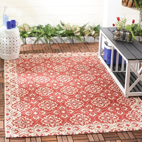 Safavieh Courtyard Elegance Red/ Cream Indoor/ Outdoor Rug - 8' x 11'2