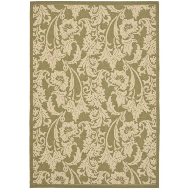 Safavieh courtyard green cream indoor outdoor rug 4 39 x for Green and cream rugs