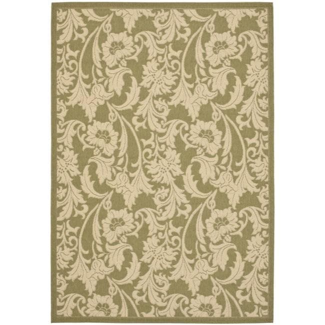 Safavieh Courtyard Green/ Cream Indoor/ Outdoor Rug (4' x 5'7)
