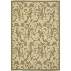 Safavieh Courtyard Green/ Cream Indoor/ Outdoor Rug (6'7 x 9'6)