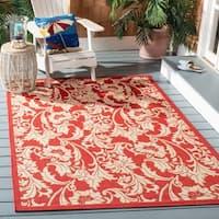 """Safavieh Courtyard Red/ Cream Indoor/ Outdoor Rug - 4' x 5'-7"""""""