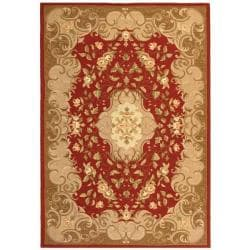 Safavieh Hand-hooked Easy Care Aubusson Rust/ Sage Rug (3' x 5')