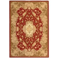 Safavieh Hand-hooked Easy Care Aubusson Rust/ Sage Rug - 3' x 5'