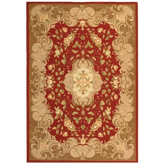 Safavieh Hand-hooked Easy Care Aubusson Rust/ Sage Rug (4' x 6')