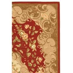 Safavieh Hand-hooked Easy Care Aubusson Rust/ Sage Rug (4' x 6') - Thumbnail 1