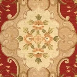 Safavieh Hand-hooked Easy Care Aubusson Rust/ Sage Rug (4' x 6') - Thumbnail 2