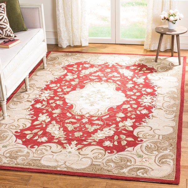 Safavieh Hand-hooked Easy Care Aubusson Rust/ Sage Rug - 4' x 6'
