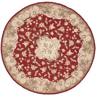 Safavieh Hand-hooked Easy Care Aubusson Rust/ Sage Rug (8' Round)