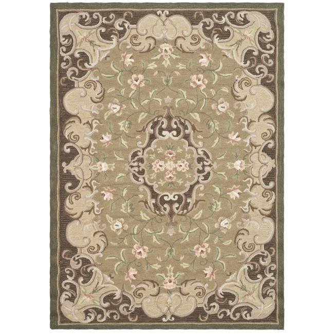 Safavieh Hand-hooked Easy Care Aubusson Beige/ Brown Rug (4' x 6')