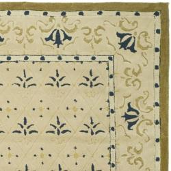 Safavieh Hand-hooked Morocco Ivory/ Blue Polypropylene Rug (3' x 5')