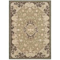 Safavieh Hand-hooked Easy Care Aubusson Beige/ Brown Rug (6' x 9')