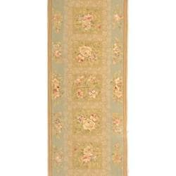 Safavieh Handmade Bouquet Sand/ Green Wool and Silk Runner (2'6 x 8')