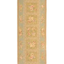 Safavieh Handmade Bouquet Sand/ Green Wool and Silk Runner (2'6 x 10')