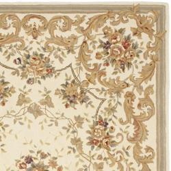 Safavieh Handmade Paradise Bouquet Ivory Wool and Silk Rug (6' x 9') - Thumbnail 1