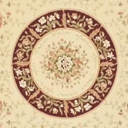 Safavieh Handmade Bouquet Beige/ Dark Red Wool and Silk Rug (7'6 x 9'6)