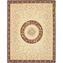 Safavieh Handmade Bouquet Beige/ Dark Red Wool and Silk Rug (5' x 8')