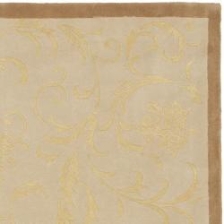 Safavieh Handmade Rya Bouquet Beige Wool and Silk Rug (5' x 8') - Thumbnail 1