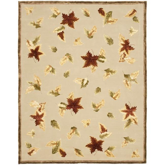 Safavieh Handmade Autumn Bouquet Beige Wool and Silk Rug - multi - 9' x 12'