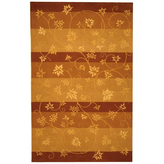 Safavieh Handmade Vine Stripe Beige Wool and Silk Rug - 10' x 14'
