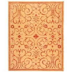 Safavieh Handmade Zen Bouquet Beige/ Rust Wool and Silk Rug (5' x 8')