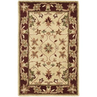 Safavieh Handmade Heritage Timeless Traditional Ivory/ Red Wool Rug (2' x 3')