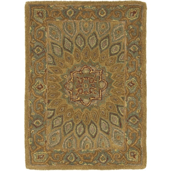Safavieh Handmade Heritage Timeless Traditional Light Brown/ Grey Wool Rug (2' x 3')