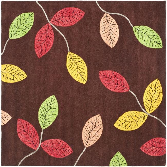 Safavieh Handmade Jardine Spring Brown Wool Rug (6' Square)