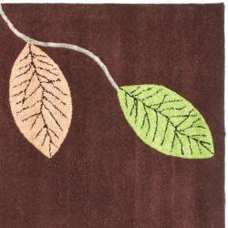 Safavieh Handmade Jardine Spring Brown Wool Rug (6' Square) - Thumbnail 1