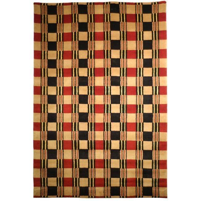 Safavieh Hand-knotted Lexington Plaid Multi Wool Area Rug (6' x 9')