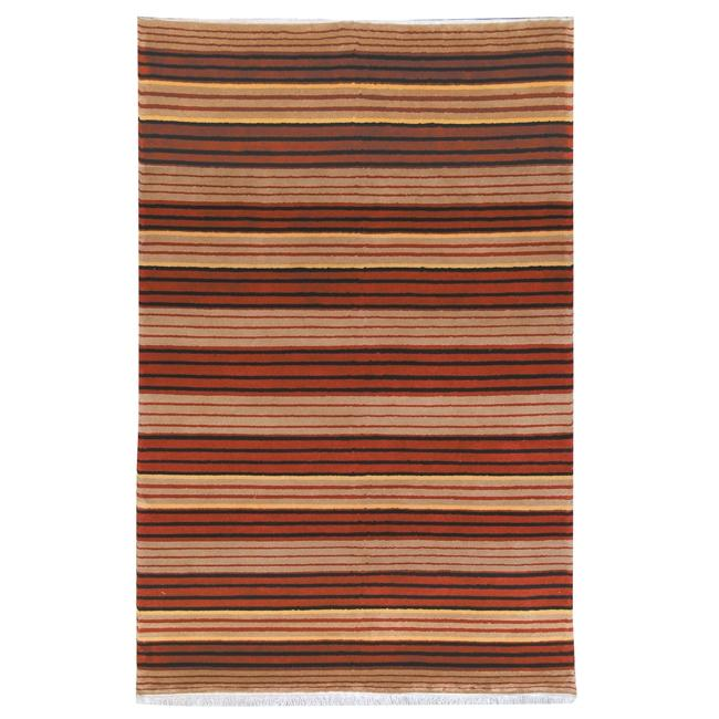 Safavieh Hand-knotted Lexington Stripes Multi Wool Rug - Beige/Red - 5' x 8'
