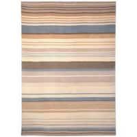 Safavieh Hand-knotted Lexington Stripes Beige/ Blue Wool Rug - 5' x 8'