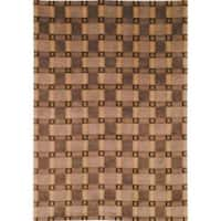 Safavieh Transitional Hand-Knotted Lexington Plaid Beige Wool Rug - 5' x 8'