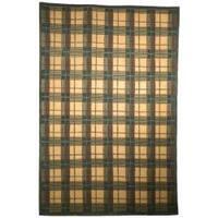 Safavieh Hand-knotted Lexington Plaid Beige Wool Rug - 6' x 9'