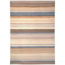 Safavieh Hand-knotted Lexington Stripes Beige/ Blue Wool Rug (4' x 6')