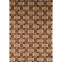 Safavieh Hand-Knotted Lexington Plaid Beige Geometric Wool Rug - 6' x 9'